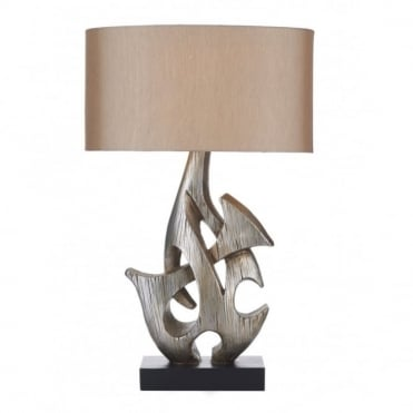SABRE - Table Lamp Silver Wooden Complete With Shade Sab4332Rs/X