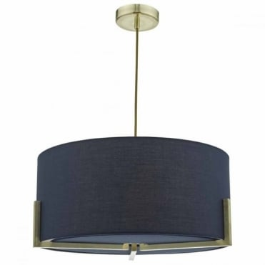 SANTINO - Gold Ceiling Pendant with Navy Coloured Shade