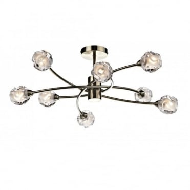SEATTLE - Large 8 Light Antique Brass Light For Low Ceilings