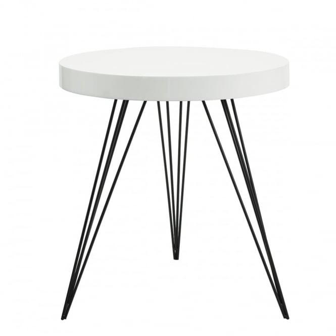 The Lighting Book SIBFORD   Side Table Round Gloss White White. U2039