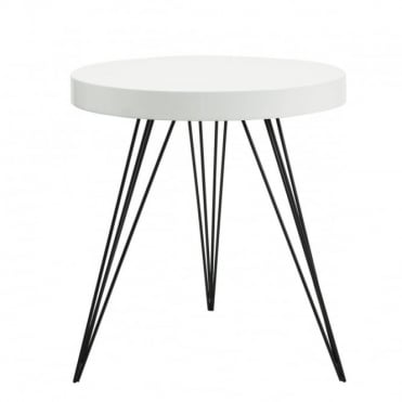 SIBFORD - Side Table Round Gloss White White