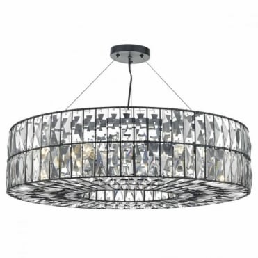 SIENNA - 6lt Black and Crystal Ceiling Pendant