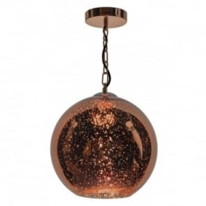 SPECKLE - 1 Light Ceiling Pendant Speckled Copper Glass