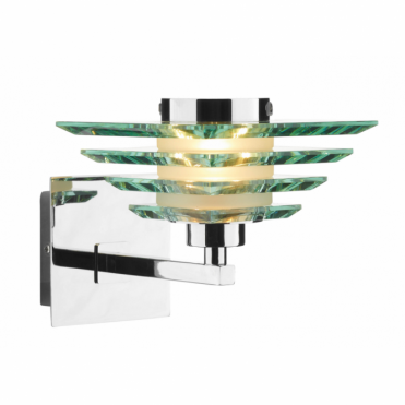 STIRLING - Modern Satin Chrome and Glass Wall Light