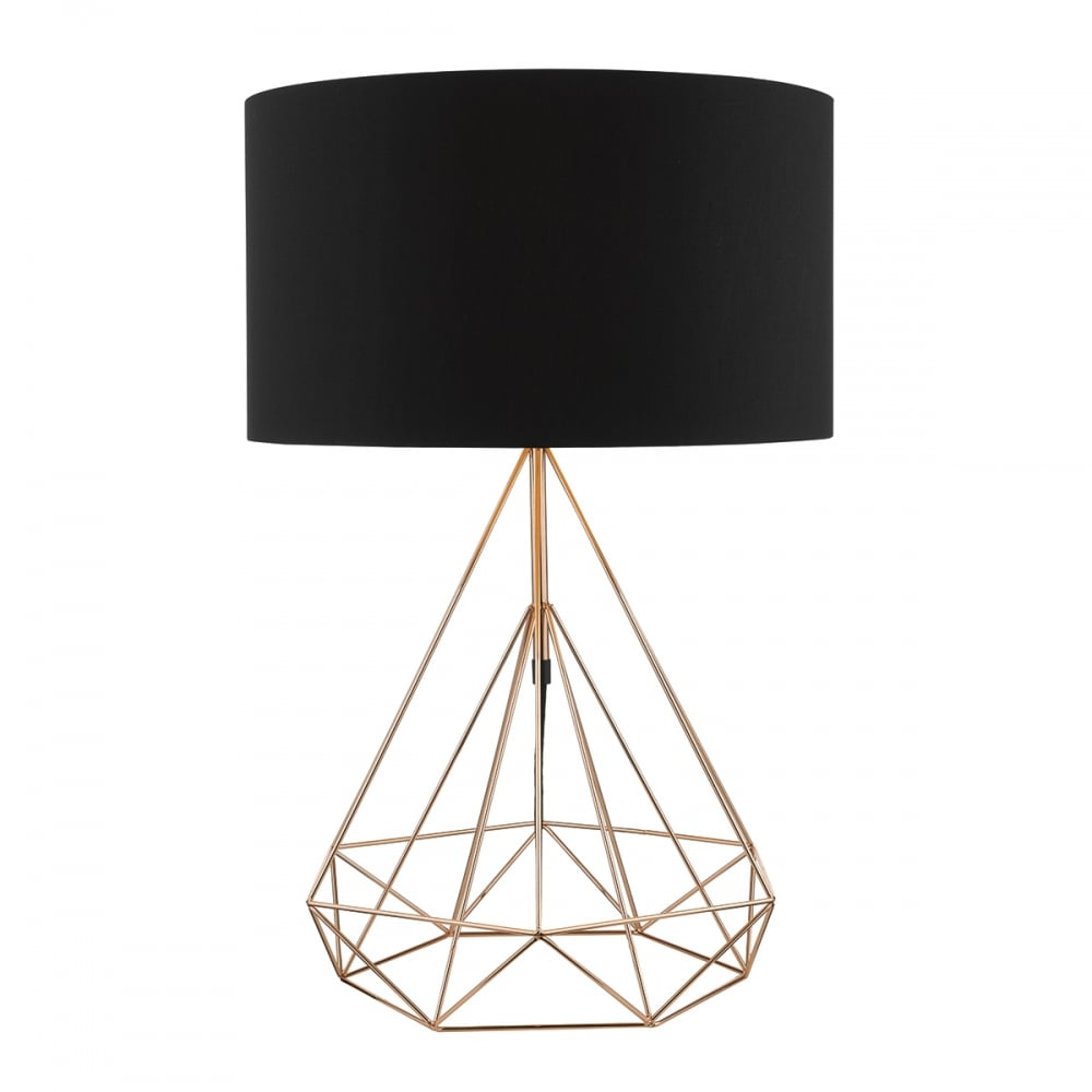 Modern copper black geometric table lamp lighting and lights uk sword table lamp copper complete with shade copper keyboard keysfo Images