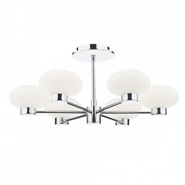 SYSTEM - 6 Light Semi Flush Ceiling Polished Chrome