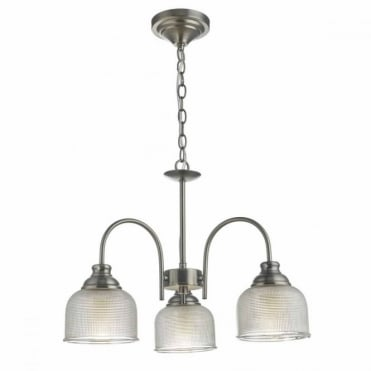TACK - Antique Chrome 3lt Pendant with Glass Shades
