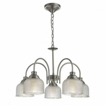 TACK - Antique Chrome 5lt Pendant with Glass Shades