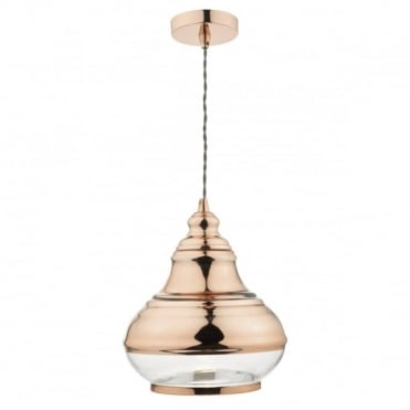 TAHLIA - Polished Copper And Glass Ceiling Pendant