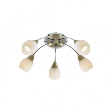 TEMPO - Satin Brass With Chrome Low Ceiling Light