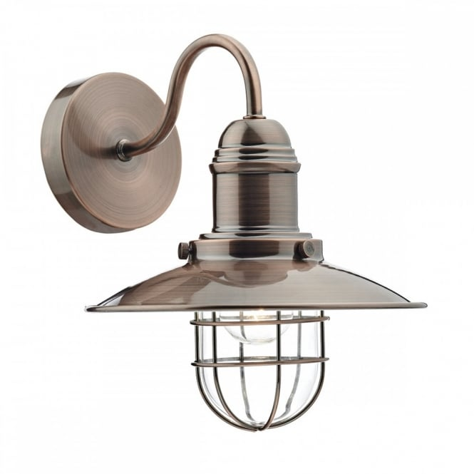 Wall Mounted Fisherman S Lamp : TERRACE vintage coastal fisherman style wall light in a copper finish