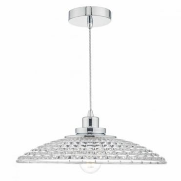 TOSCANA - Single Chrome and Textured Glass Ceiling Pendant