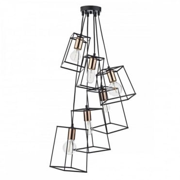 TOWER - 6 Light Cluster Ceiling Pendant Black