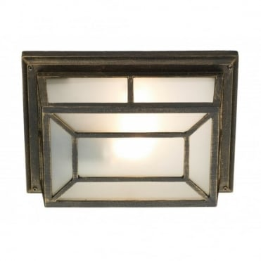 TRENT - Exterior Rustic Black Gold Square Garden Wall/Porch Light