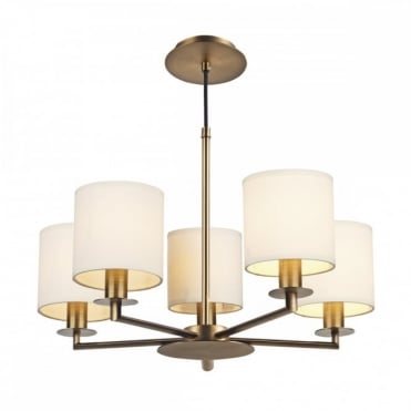 TYLER - 5 Light Height Adjustable Ceiling Pendant Bronze With Shades