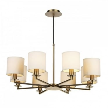 TYLER - 8 Light Dual Mount Ceiling Pendant Bronze With Shades