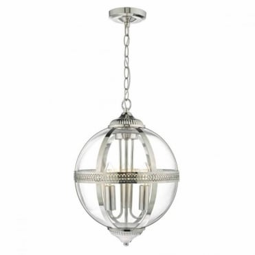 VANESSA - 3lt Pendant in Polished Nickel and Glass