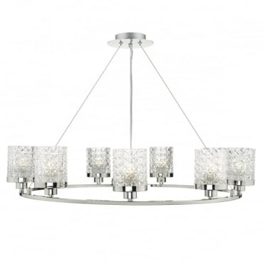 VICTORIA - 9 Light Ceiling Pendant Polished Nickel Clear Glass Polished Nickel