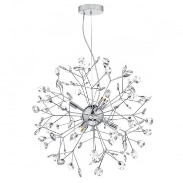 VIVIEN - Modern Sputnik Ceiling Pendant Polished Chrome And Crystal