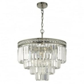 VYANA - 4 Light 4 Tier Ceiling Pendant Satin Nickel And Crystal