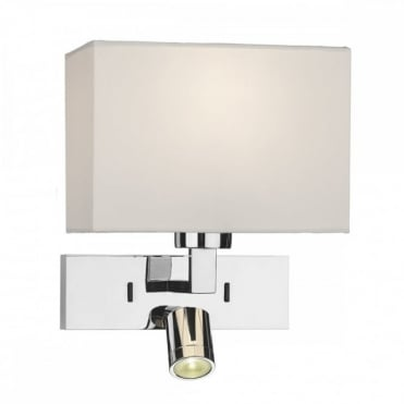 WALL - Light Rectangle Wall Bracket With LED Polished Chrome Base Only