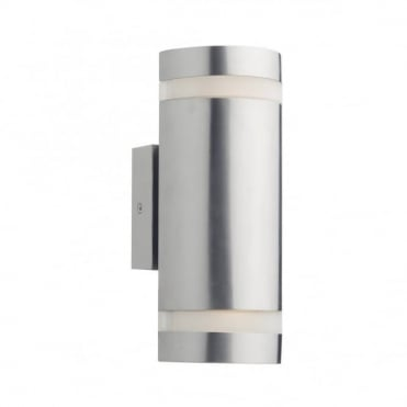 WESSEX - Exterior LED Stainless Steel Cylinder 2 Light LED Ourdoor Wall Light