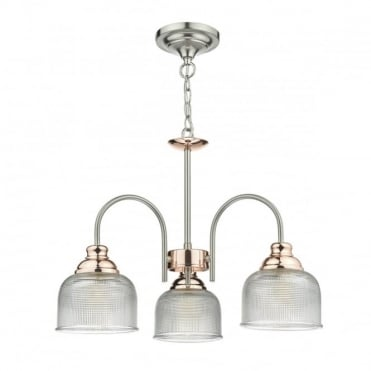 WHARFDALE - 3 Light Ceiling Pendant Satin Chrome Copper Complete With Textured Glass Satin Chrome