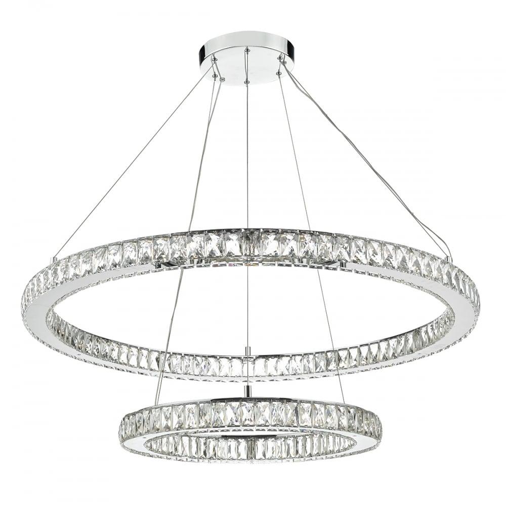 Large contemporary led ceiling light 2 hoops lighting and lights uk wonder led double tier ceiling pendant crystal polished chrome led polished chrome aloadofball Gallery
