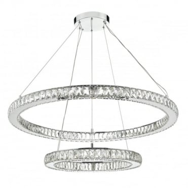 WONDER - LED Double Tier Ceiling Pendant Crystal Polished Chrome LED Polished Chrome