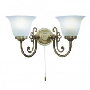 WOODSTOCK - Wall Light Twin In Light Antique With Pull Switch