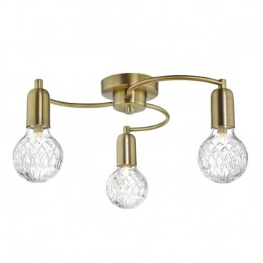 WREXHAM - 3 Light Semi Flush Ceiling Antique Brass Complete With Clear Cut Glass Shades