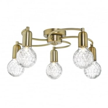 WREXHAM - 5 Light Semi Flush Antique Brass Complete With Clear Cut Glass Shds