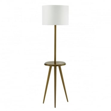 WYCOMBE - Floor Lamp Wood C/W Cotton Shade