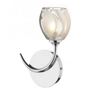 ZAGREB - Modern Chrome Single Wall Light Glass Shade