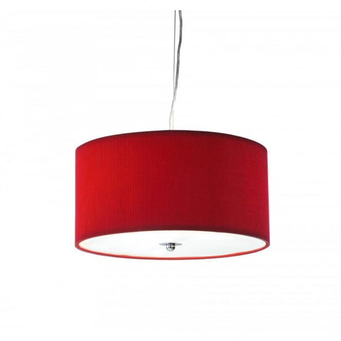 Contemporary Ceiling Pendant Light With Red Pleated Shade