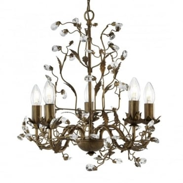 ALMANDITE - 5 Light Ceiling Pendant In Brown Gold With Leaf Detailing