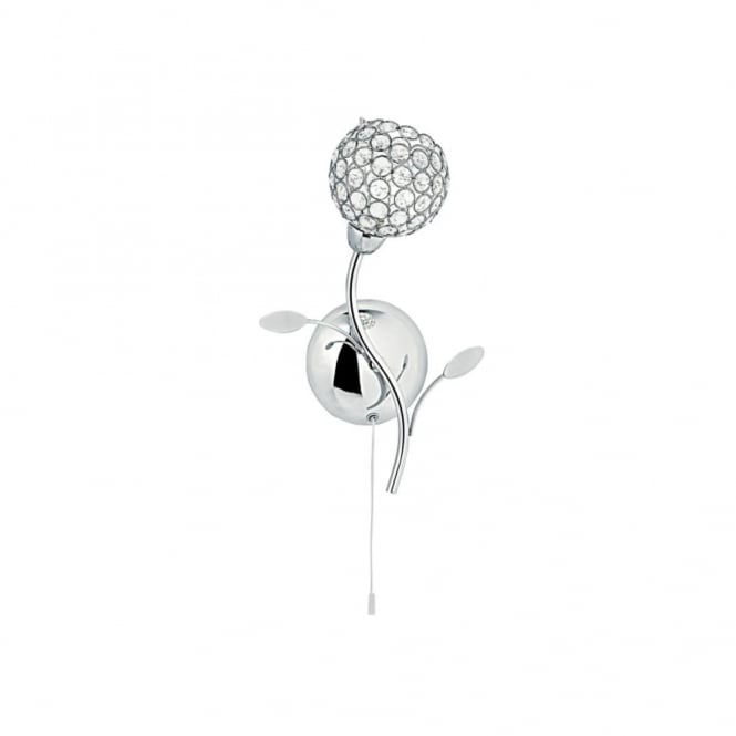 BELLIS 2 - Floral Wall Light Polished Chrome With Clear Glass Bead Shade