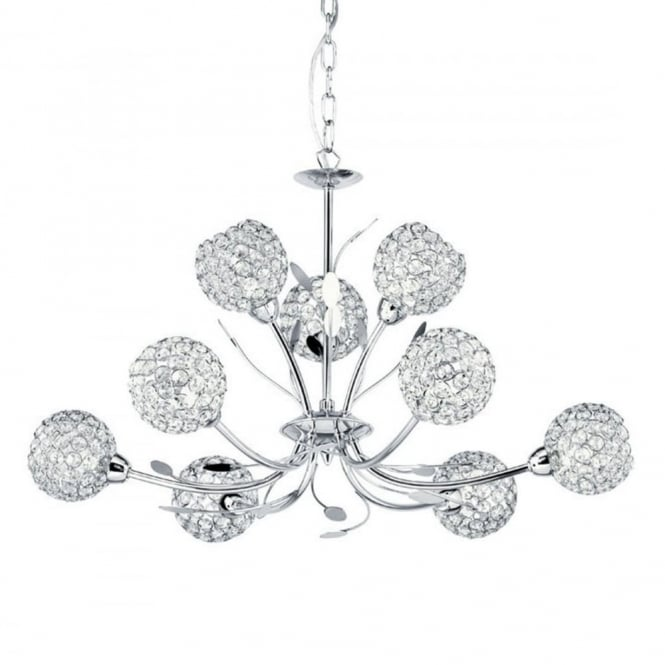 BELLIS - Ii 9 Light Ceiling Pendant Chrome With Clear Glass