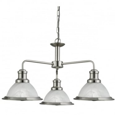 BISTRO - 3 Light Industrial Ceiling Satin Silver Marble Glass
