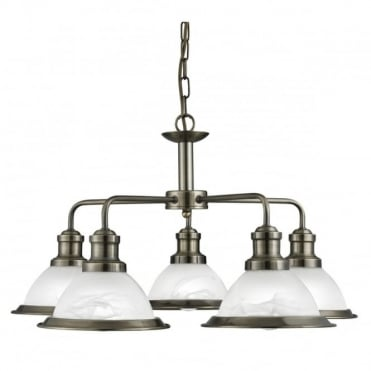 BISTRO - 5 Light Industrial Ceiling Antique Brass Marble Glass