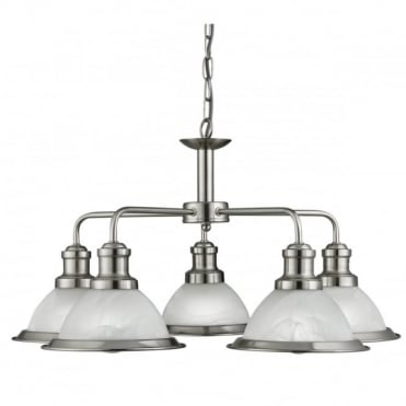 BISTRO - 5 Light Industrial Ceiling Satin Silver Marble Glass
