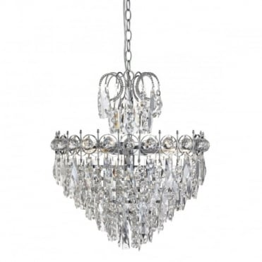 CATHERINE - 5 Light Semi-Flush Ceiling Light In Chrome And Crystal