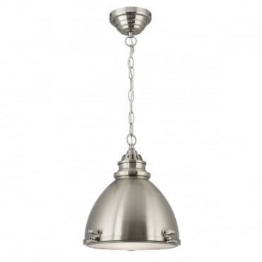 DOME - Cage Ceiling Pendant 1 Light Satin Nickel Dome With Frosted Glass Diffuser