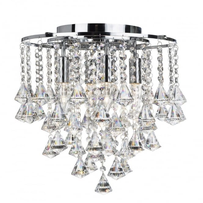 DORCHESTER - 4 Light Flush Ceiling Ceiling Light In Chrome With Crystal Octohedrons