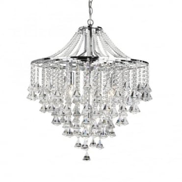 DORCHESTER - 5 Light Flush Ceiling Ceiling Light In Chrome With Crystal Octohedrons