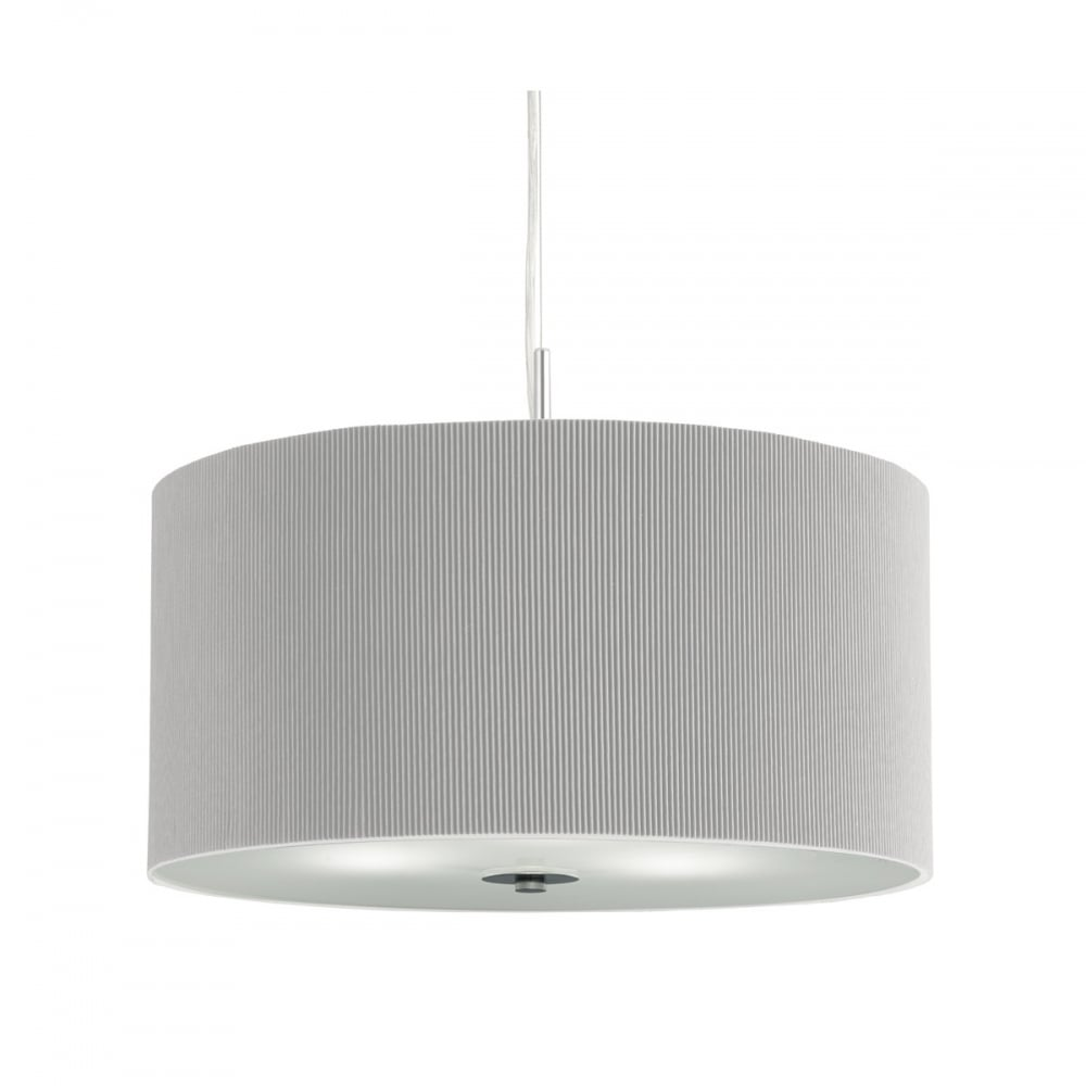 Silver Grey Pleated Drum Ceiling Pendant Lighting And Lights Uk