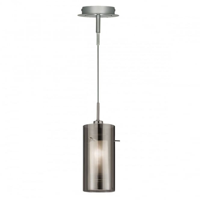 DUO - 2 1 Light Ceiling Pendant With Smokey Outer/Frosted Inner Glas