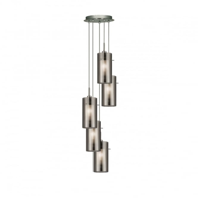 DUO - 2 5 Light Ceiling Multidrop With Smokey Outer/Froste