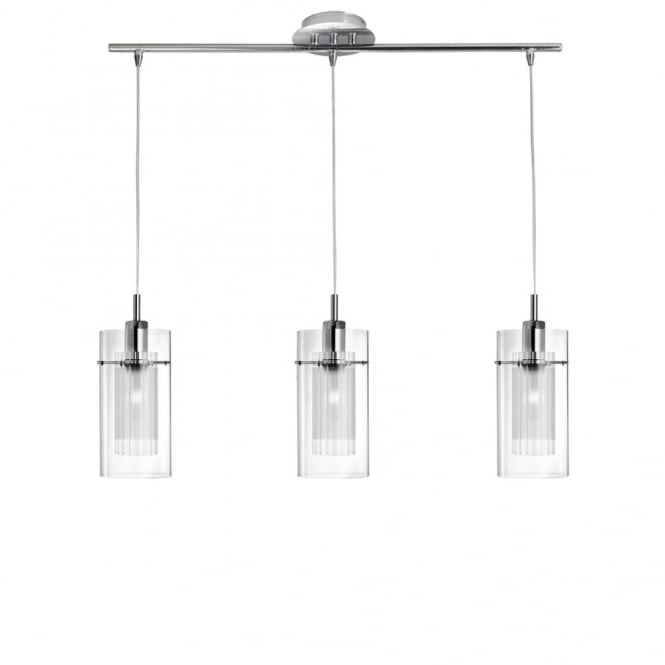 DUO - I Triple Ceiling Pendant With Double Glass Shades