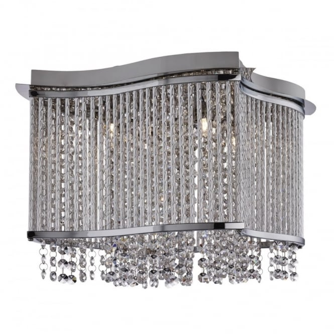 ELISE - 3 Light Square Ceiling Flush Ceiling Chrome Clear Crystal Bu